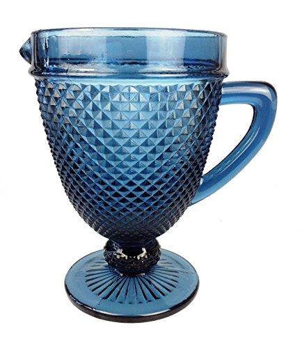 Vintage 6 Teile Set Glasnetz König Trinkglas Glas Gläser Weingläser Wasserglas Longdrinkglas (Wasserkrug blau)