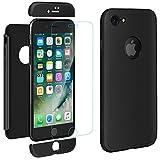 ivencase iPhone 8 Cover Premio Ibrido Rugged 3 in 1 Duro AntiGraffio Macchia PC Custodia + Pellicola Vetro Temperato Protettiva per Apple iPhone 8 4.7' Nero