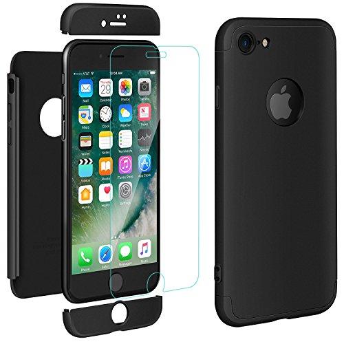 "ivencase iPhone 7 Cover Oro Rosa Custodia iPhone 7 Case Premio Ibrido Rugged 3 in 1 Duro AntiGraffio Macchia PC Custodia + Pellicola Vetro Temperato Protettiva per Apple iPhone 7 4.7"" (Nero)"