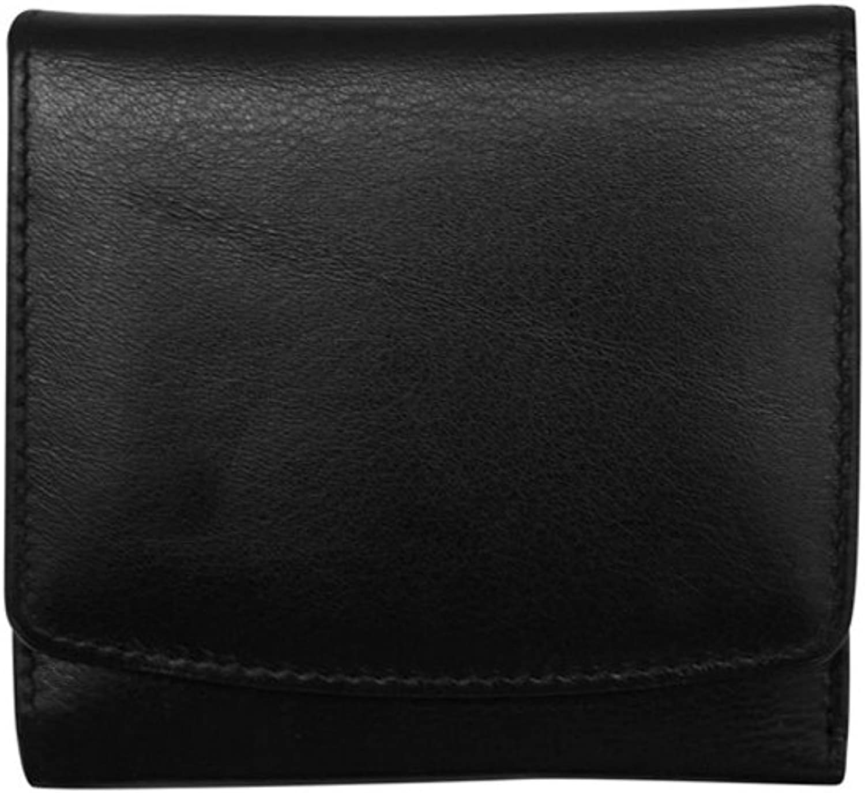 Ili 7805 Leather Tri Fold Wallet with RFID Blocking (Black  Red)