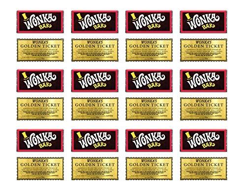 24 Wonka Bar and Golden Ticket Cupcake Topper glaseado o oblea o tarjeta de oblea de pie 2 x 1 pulgadas