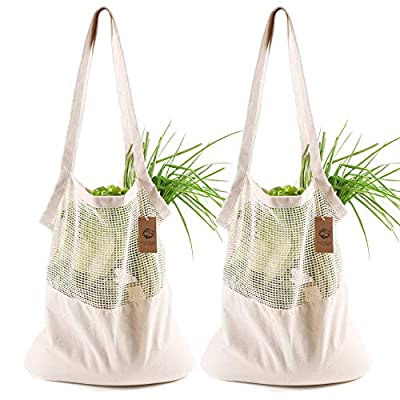 Burcan Reusable Grocery Bags,Cotton Mesh Net Stretchy Bags Shopping Bags Summer Bags Market Bags (Beige,2 Packs)