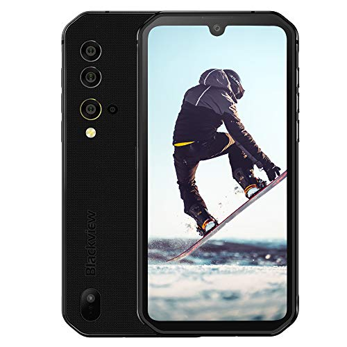 """Blackview BV9900E Rugged Cell Phones Unlocked, Android 10 Helio P90 Octa-core 6GB+128GB ROM IP68 Smartphone, 48MP Four Rear Camera, 5.84"""" FHD+ Screen Android 10 4380mAh Dual 4G Rugged Phone (Black)"""