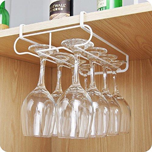 Kitchen Wine Glass Storage Rack, Double Row Cupboard Wine Glass Hanging Hook Hanger, Under Shelf Glass Holder Hanger Drying Rack Multifunctional Chest Cabinet Wine Glass Storage Organizer Holder
