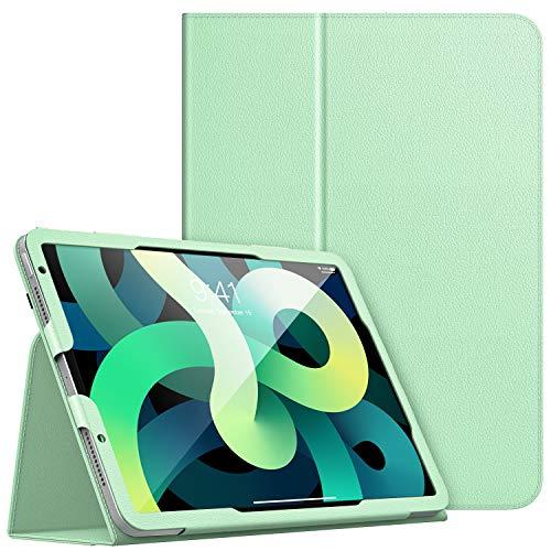 Dadanism Funda Compatible con iPad Air 4 Case 2020 iPad 10.9 Case, Suave Protector de PU Cuero con Cierre Magnético Case Cover con Soporte y Correa de Mano Compatible con iPad 10.9 2020, Verde
