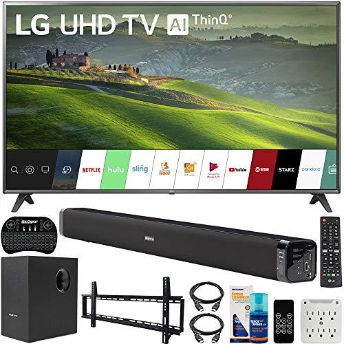 LG 75UM6970 75 inch HDR 4K UHD Smart IPS LED TV 2019 Model Bundle with Soundbar with Subwoofer, Wall Mount Kit Wireless Backlit Keyboard and 6-Outlet Surge Adapter