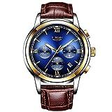 Relojes para Hombres,LIGE Correa de Cuero Marrón Deportivo Analógico de Cuarzo Relojes de Pulsera Impermeable Cronógrafo Negocios Casual Luminoso Reloj Oro Azul