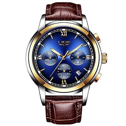 Horloges voor heren, LIGE bruine leren armband sport analoog kwarts polshorloge waterdicht chronograaf datum kalender business casual lichtgevende jurk horloge goud blauw