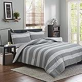 Brooklyn Flat Herringbone Wide Striped Bedding, Twin XL, Grey