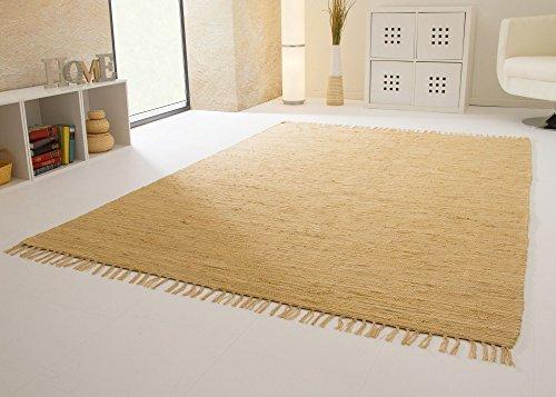 Handwebteppich Indira in Natur - Handweb Teppich aus 100{70ac606b591b1d9f84fc026810fe76c0a9805eabaf8adb4164e4e44c47cf5338} Baumwolle Fleckerl, Größe: 60x120 cm