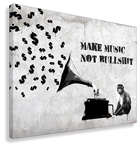 Kunstbruder Leinwandbild Like Banksy Make Music Not Bullshit (div. Größen) - Kunstdruck auf Leinwand/Wandbild Graffiti Street-Art Bild 30x40cm