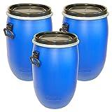 Lot de 3 Fûts, baril poliétylène ouverture totale 60 L, bleu, qualité alimentaire, avec couvercle (3x22095)