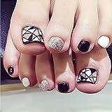 lzn 24pcs/Set Fashion Foot False Nail Tips Blanco y Negro Glitter Geometry Printing Women Ladies Fake Nails With Grupo Glue Toe tipo Tool Negro