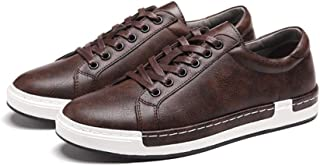 Asifn Men's Leather Casual Skateboard Shoes Lace Up Fashion Non-Slip Flats Trendy Business Comfortable Sneakers