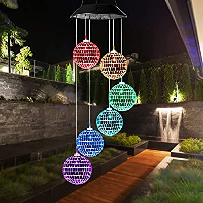 Idefair Solar Wind Chimes, Mobile Hanging LED Light Color Changing Wind Chime Birthday Gift for Mom Mother Laddies and Garden Patio Yard Decoration (Ball)