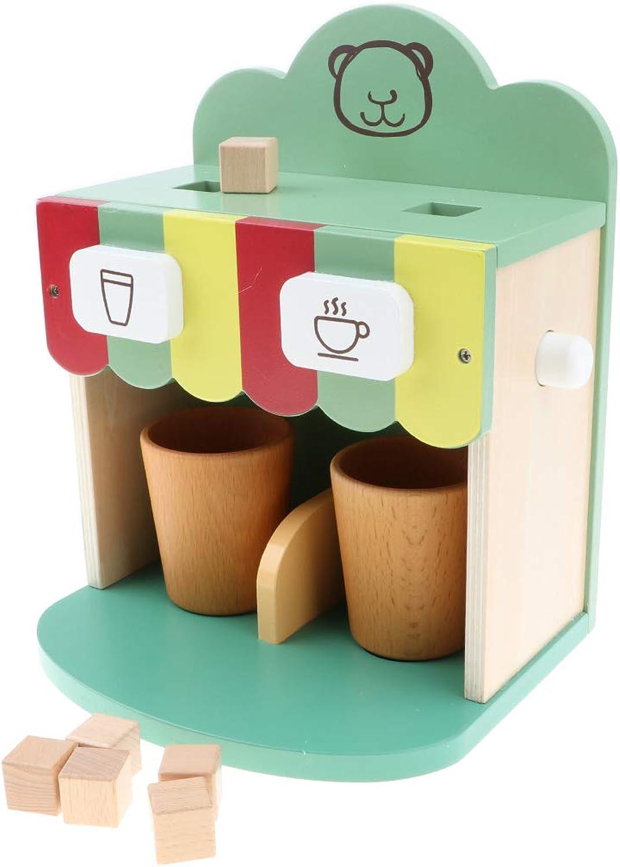 HOMYL 9pcs Wooden Coffee Maker Playset Kitchen Pretend Toys for Kids Girls  Green