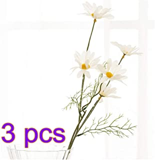 BELUPAID 3 Pack 5 Head Artificial Gerbera Daisy Flowers High-Grade Cosmos Bouquet Fake Small Wild Chrysanthemum for Home Wedding Hotel Office Cafe Restaurant (White)