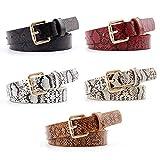 OuLi Store 5PCS Cinturón de mujer con patrón de serpiente fina con hebilla para jeans Vestido Cinturón de mujer pequeño Cinturón de cuero fino 105CM