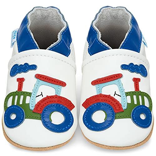 Juicy Bumbles - Weicher Leder Lauflernschuhe Krabbelschuhe Babyhausschuhe mit Wildledersohlen. Junge Mädchen Kleinkind- Gr. 12-18 Monate (Größe 22/23)- Traktor
