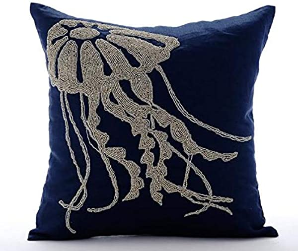 Luxury Navy Blue Decorative Pillowcases 16x16 Inch Linen Throw Pillow Covers Sea Creatures Jelly Fish Fish Beaded Beach Style Pillow Covers Jelly Fish At The Shore