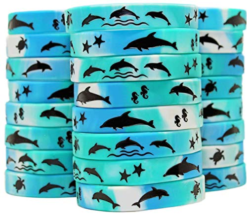 Gypsy Jade's Dolphin Party Favors - Wristbands for Awesome Dolphin Themed Parties - Pack of 24!