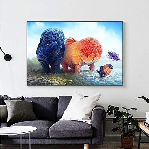 KWzEQ Leinwanddrucke Kreatives Tier modernposter und Dekor für Wohnzimmer,50x75cm,Rahmenlose Malerei