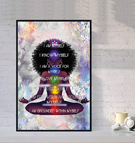 Stampa artistica da parete con scritta  Black Yoga , I m me self, I love myself.Art Pictures Home Office Decoration Canvas Wall Art Pittura pronta da appendere, 30,5 x 45,7 cm