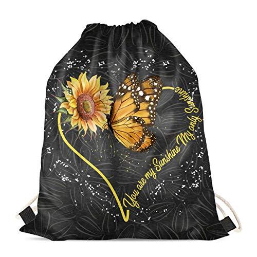 chaqlin Mochila con cordón para mujer, diseño de girasol, mariposa, para viajes, natación, escuela, gimnasio, mochila de almacenamiento
