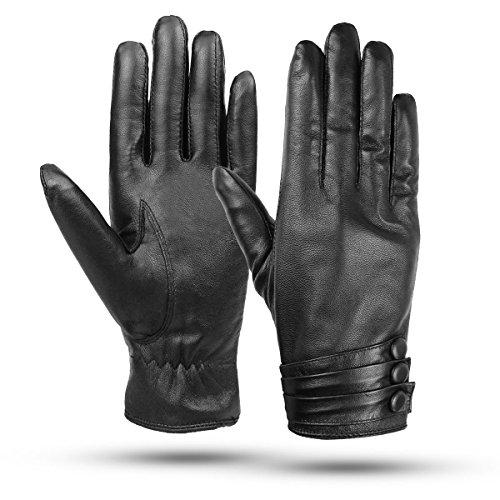 Kordear Damen Lederhandschuhe Winter - Lederhandschuhe Touchscreen, Lederhandschuhe Schwarze Fäustlinge Echtleder Touchscreen Handschuhe (Schwarz)