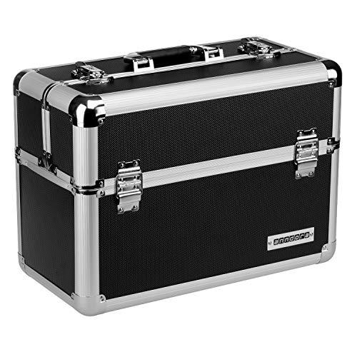 anndora® Werkzeugkoffer 24L Präsentationskoffer Etagenkoffer Schwarz + Schlüssel