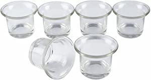 Shxstore Clear Chunky Glass Lip Votive Candle Holders Tealight Votive Cups For Wedding Proposal, Spa, Aromatherapy, Meditation, 6 Counts By