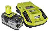 Ryobi P108 One+ 18V 4.0AH Lithium Ion Battery and P117 One+ Dual Chemistry Lithium Ion and NiCad Battery Charger (2 Piece Combo Set)