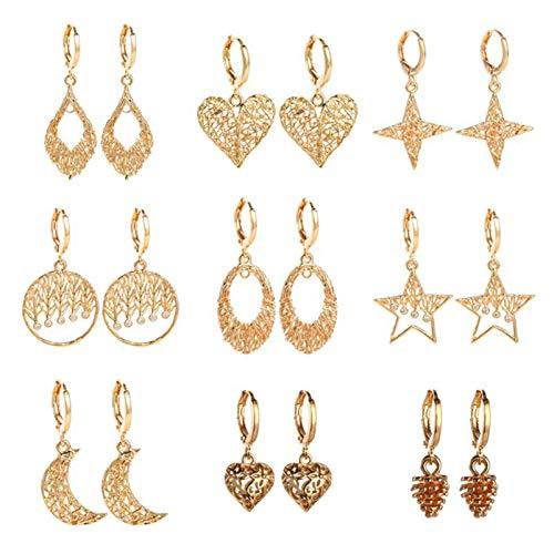 BNMY Pendientes De Cobre Pendientes De Pentagrama Y Luna Pendientes De Estrella Dorados, Pendientes Delicados, para Regalo De Mujer,9 Pack