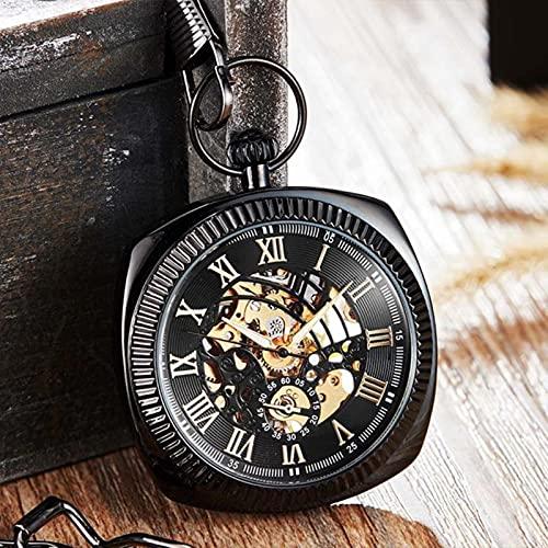 JTWMY Reloj de Bolsillo mecánico de Lujo único Reloj Retro Números Romanos Cuadrado Dial Skeleton Chain Watch-C