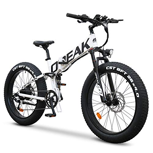 Opeak Ebike Foldable Electric Bike 750W High Speed Motor,12AH Removable 48V Ebike Battery,8 Speed,26''4.0 Fat Tire Electric Bike Folding Ebikes for Adults,E Bikes for Women and Men(UNIK - White)