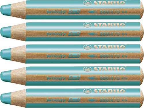 Matita colorata Multi-Funzione - STABILO woody 3 in 1 - Confezione da 5 - Turchese