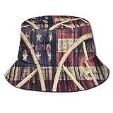 Bucket Hats Ruedas de Carro Antiguas con Bandera Estadounidense en Colores Retro Vintage New World Print Sombrero de Playa de ala Ancha para protección UV