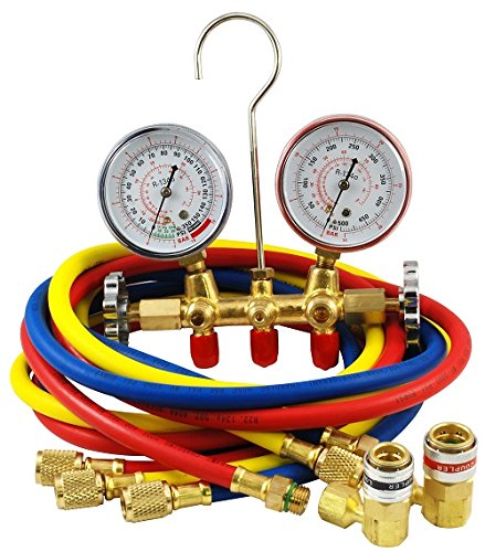 MOUNTAIN 8205 R-134a Brass Manifold Gauge Set with...