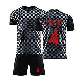 2020 Kroatien Home und Away Grid Jersey Set, Modric # 10 Rakitisch # 7 Perisic # 4 Kramaric # 9 Mandzukic # 17 Fan Fußball Sportbekleidung NO.4-XL