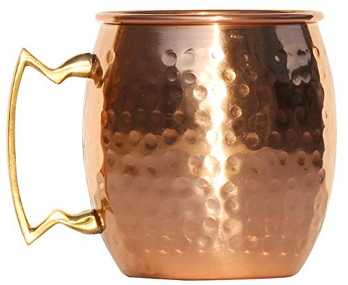 SouvNear 100% PURE Copper Moscow Mule Mug - Handmade Hammered 16 oz / 473 ml Mug with Brass Handle, Best Cup for Mules, Drinks Ice Cold Beer