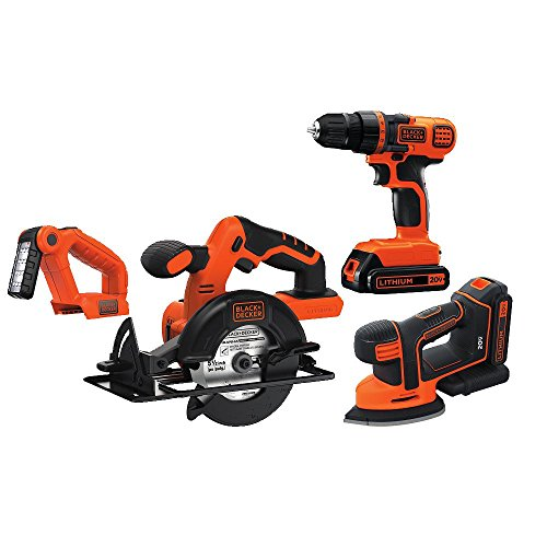 BLACK+DECKER 20V MAX Cordless Drill Combo Kit, 4 Tool (BD4KITCDCMSL)