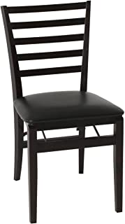 COSCO Contoured Back Wood Folding Chair with Vinyl Seat, Espresso, 2-Pack