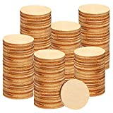 200 Pieces 1.5 Inch Unfinished Wooden Circles, Wooden Cutouts Natural Round Wood Slices for DIY Wood Craft, Door Hanger, Painting, Wedding, Coasters, Home Decoration