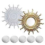 Moldes de resina para espejo Molde resina silicona pared de sol de silicona Molde para fundición resina poxi Moldes decorativos para espejo con 5 espejos para manualidades bricolaje Baño Hogar Pared