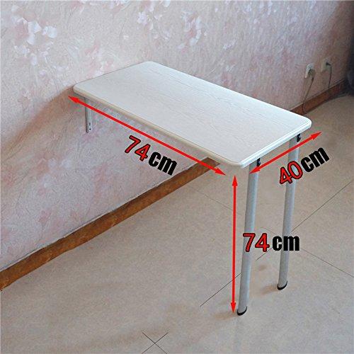 Dongy Klaptafel, voor aan de muur gemonteerd, klaptafel, keuken, eettafel, computer, werkplek voor kinderen, studeren organisator, vouwen, wit 74×40×74cm(Double legs)