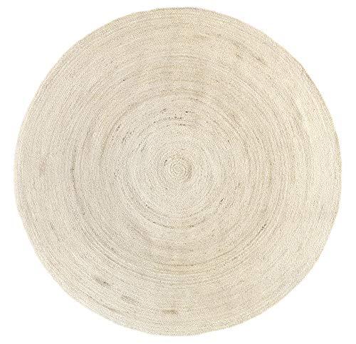 HAMID Tapis Jute Naturel Blanc Rond - Alhambra Tapis 100% Fibre de Jute (200x200cm)