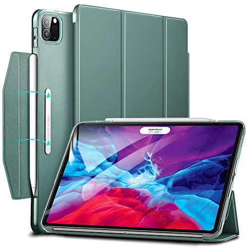 ESR Yippee Trifold Smart Case for iPad Pro 12.9 2020 & 2018, Lightweight Stand Case with Clasp, Auto Sleep/Wake [Supports Pencil 2 Wireless Charging], Hard Back Cover for iPad Pro, Forest Green
