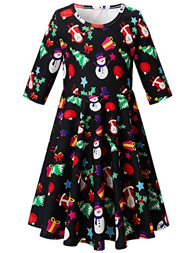 BFUSTYLE 4t 5t Girl Dress Infant Christmas Tree Swing Dress Three Quarter Sleeve Furlough Swing Dress for Masquerade Winter Snowman Round Neck One-Piece Garment for Girl (Christmas Black, 4-5T)