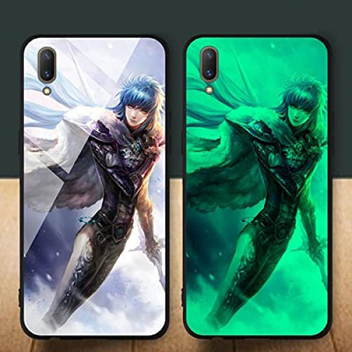 Resplandor Nocturno de Anime Estuche para Teléfono con Cordón Funda Protectora para iPhone Carcasa de Vidrio Templado Antifricción Saint Seiya Serie Tendencia (Compatible con iPhone 11 Pro MAX)