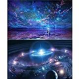 2 Packs 5D DIY Diamant Malerei Malen nach Zahlen Kits für Erwachsene, Night Sky & Fantasy Space Vollbohrer Diamant Stickerei Gemälde Bilder Kunst Handwerk für Heimtextilien